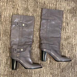 Coach 'Sage' Tall Gray & Silver Boots Sz 10